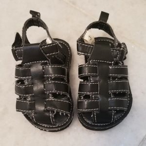 Other - Baby boys black open sandals w velcro size 3